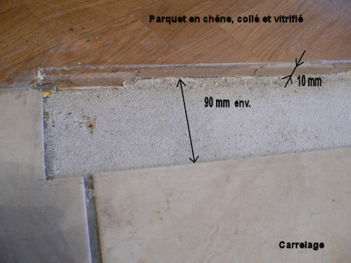 Transition entre carrelage et parquet for Plancher sur carrelage