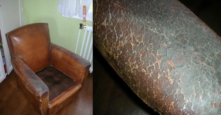 Restauration fauteuil club en cuir - Renover un canape en cuir craquele ...