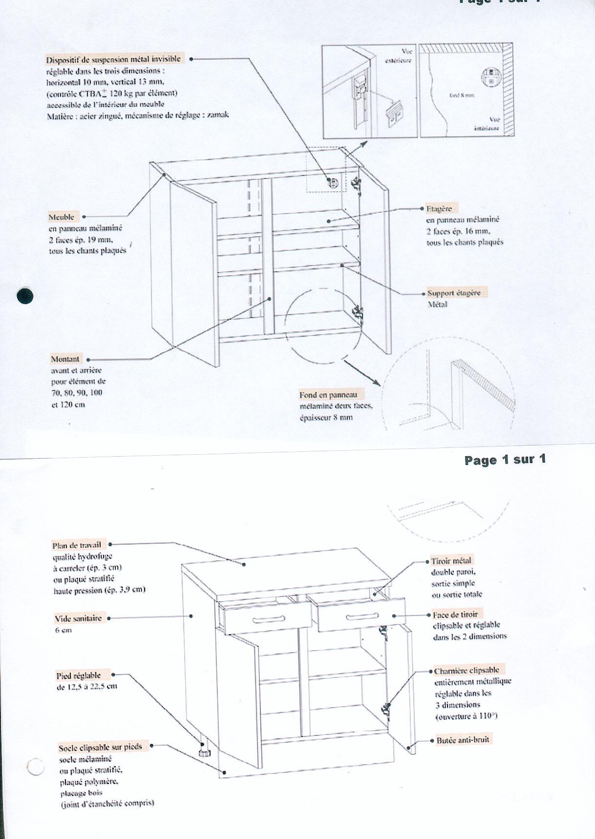 Fixation l ments de cuisine sur ba10 40 - Comment fixer un plan de travail au mur ...