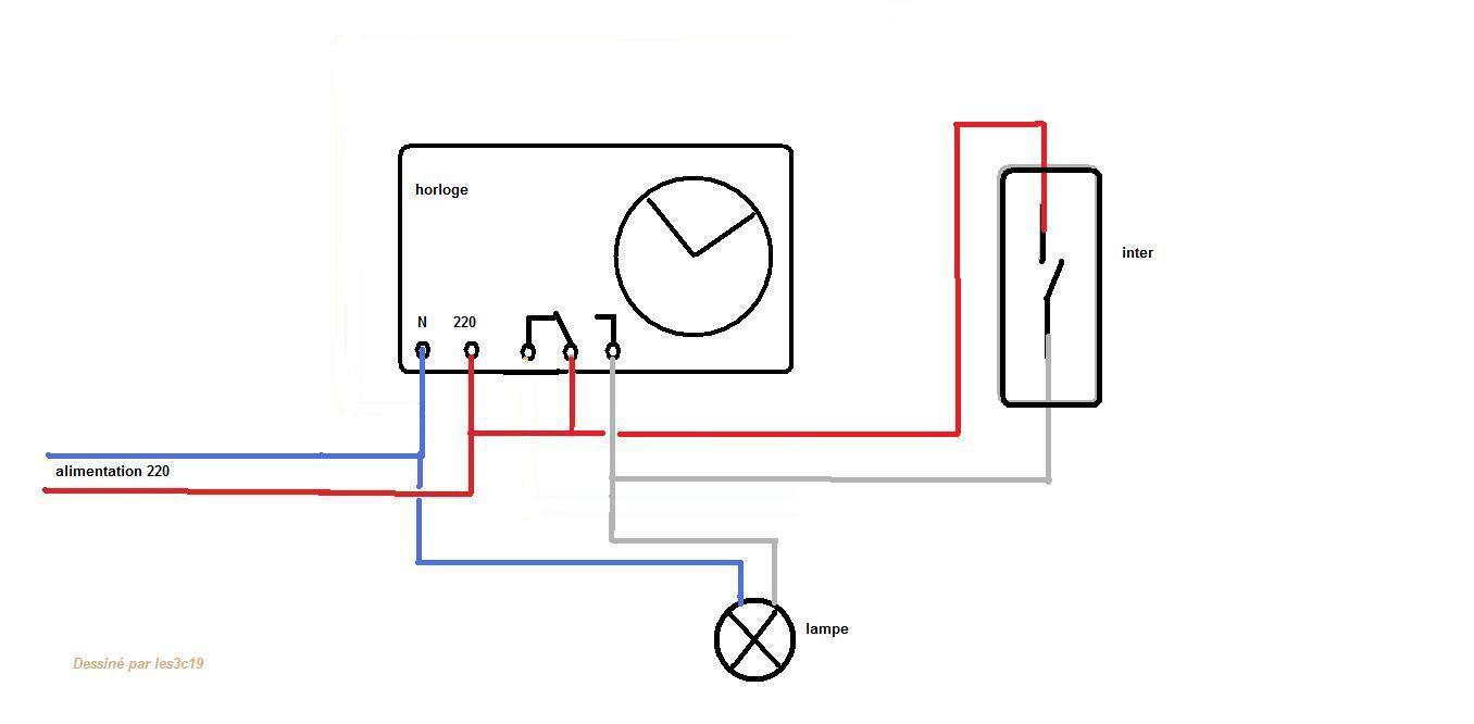 Lampe avec horloge for Branchement electrique exterieur