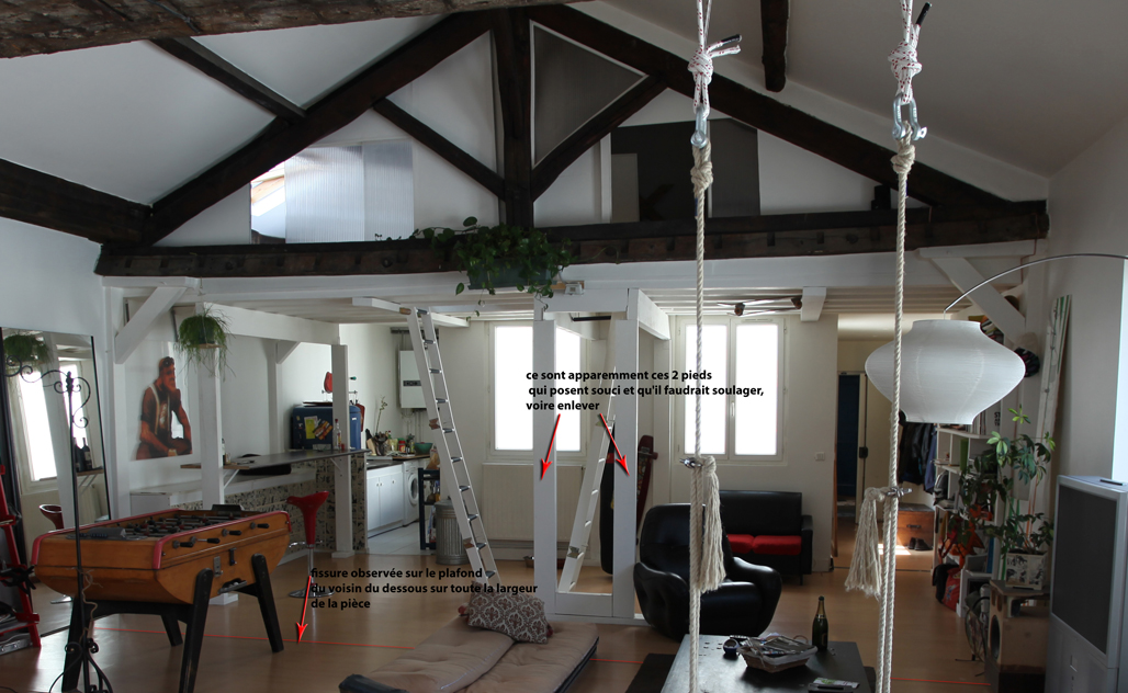 Suspension mezzanine - Luminaire sur poutre apparente ...