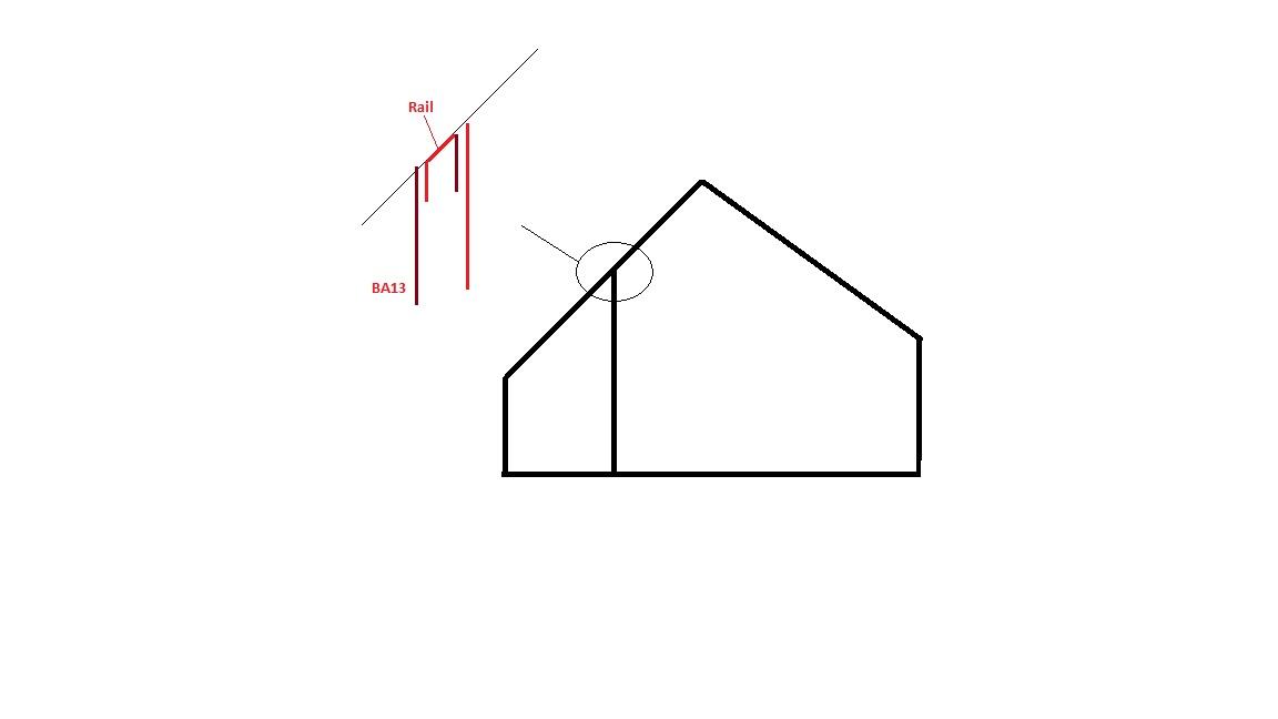 pose d 39 un cloison ba13 sous toiture inclinee. Black Bedroom Furniture Sets. Home Design Ideas