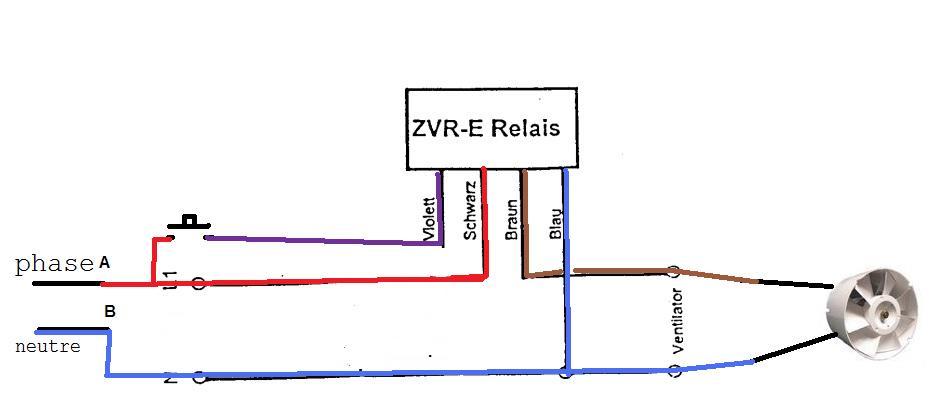 Branchement relais minuteur zvre for Aerateur salle de bain silencieux