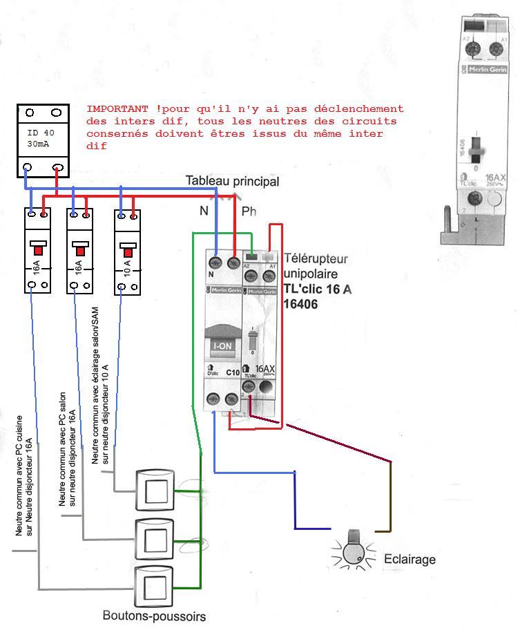 telerupteur avec neutres communs a d 39 autres circuits. Black Bedroom Furniture Sets. Home Design Ideas