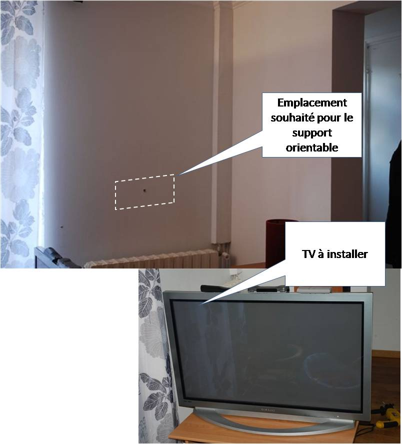 fixation support tv orientable sur du placo. Black Bedroom Furniture Sets. Home Design Ideas