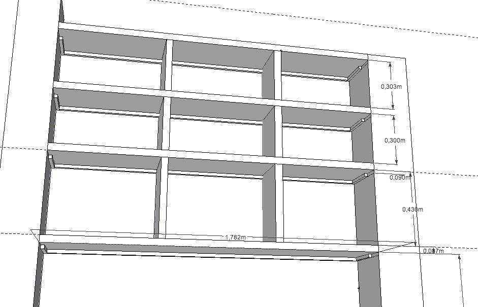 Biblioth que en mdf 38 avec longue port e 176cm entre 2 murs - Bibliotheque en medium ...