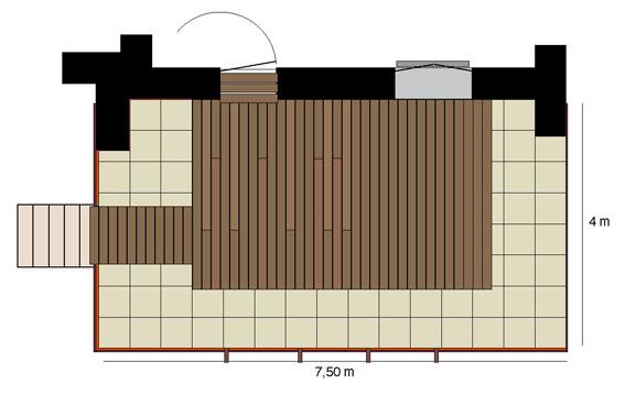Terrasse lames bois dalles pierre for Plan terrasse en bois