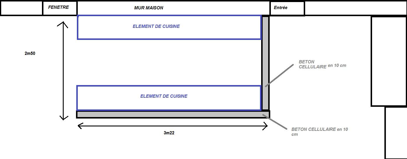 Monter un bar de cuisine pour separation en b ton cellulaire for Cuisine en beton cellulaire