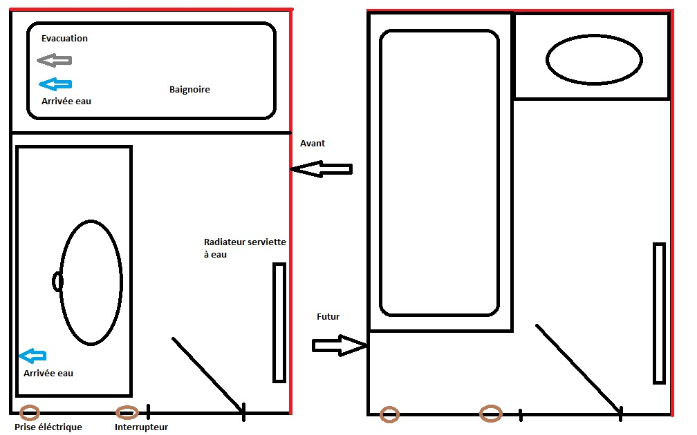 Renseignement plomberie salle de bain - Schema salle de bain ...