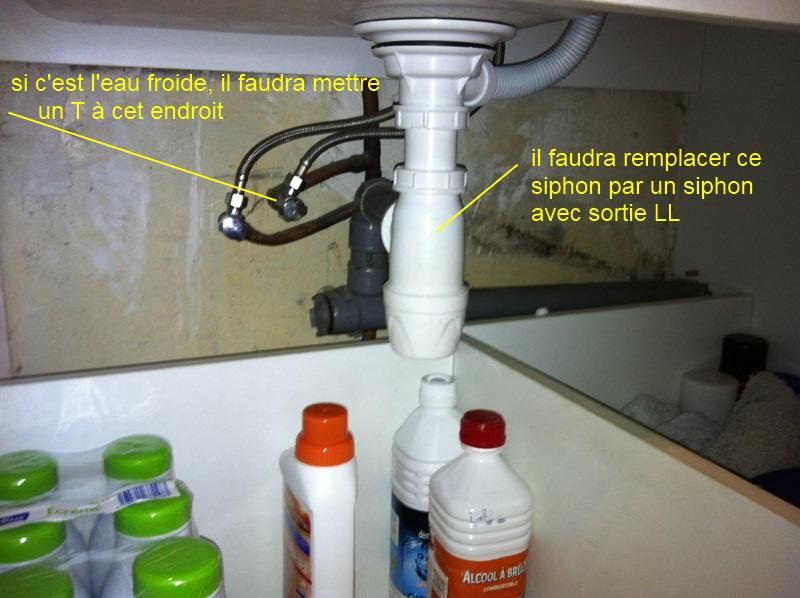 Intallation evacuation arriv e d 39 eau froide pour lv sur - Evacuation lave vaisselle sur siphon evier ...