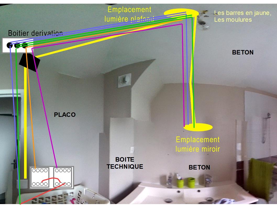 Deuxieme lumiere et interrupteur double for Ajouter une salle de bain