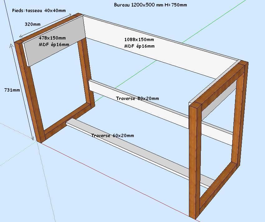 fabriquer bureau pieds de bureau et stabilit. Black Bedroom Furniture Sets. Home Design Ideas