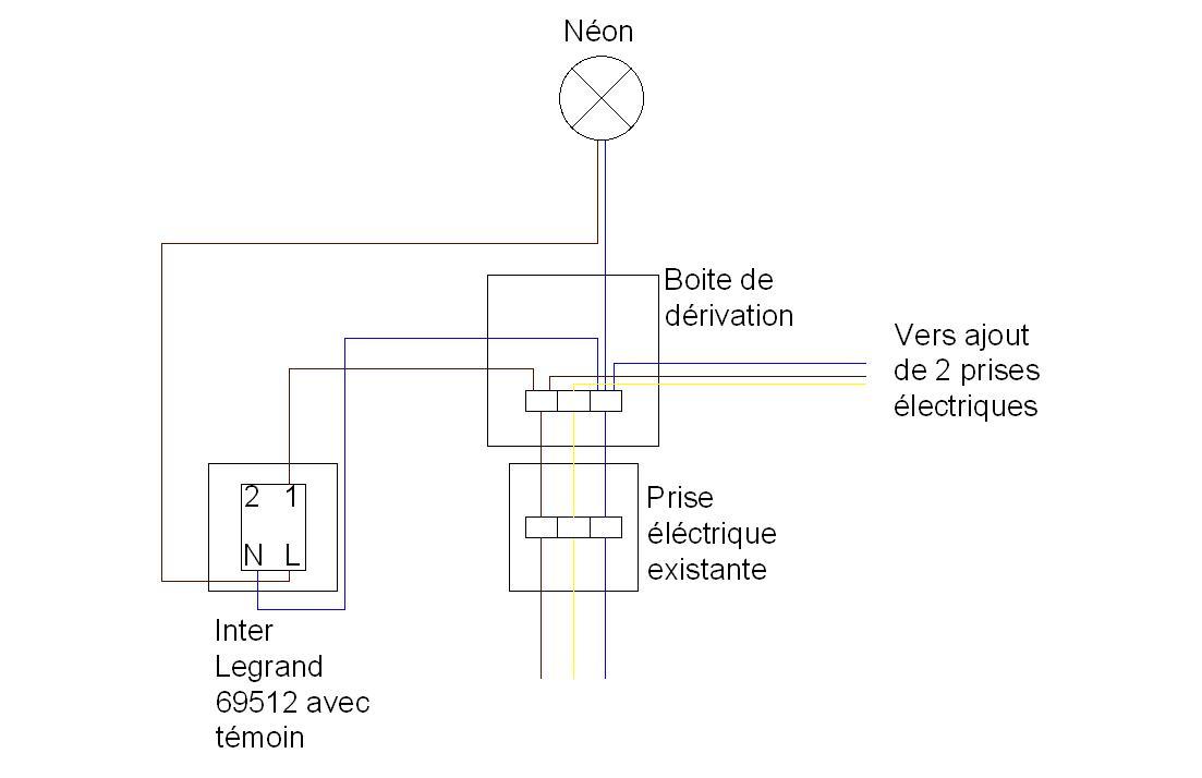 soucis branchement interrupteur legrand 69512 avec t moin lumineux. Black Bedroom Furniture Sets. Home Design Ideas