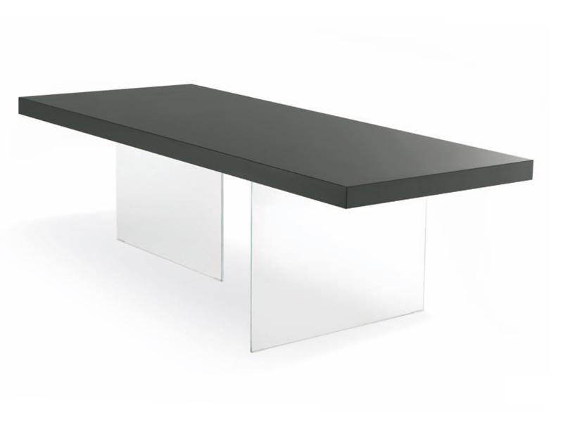 pieds de table en verre sur plateau en bois. Black Bedroom Furniture Sets. Home Design Ideas