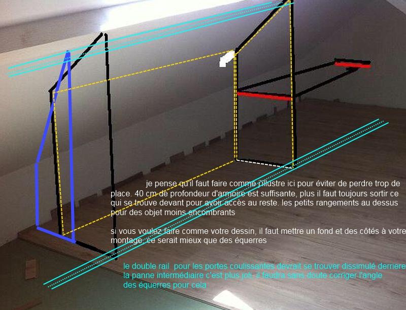 cr ation de rangements sous pente avec portes coulissantes. Black Bedroom Furniture Sets. Home Design Ideas