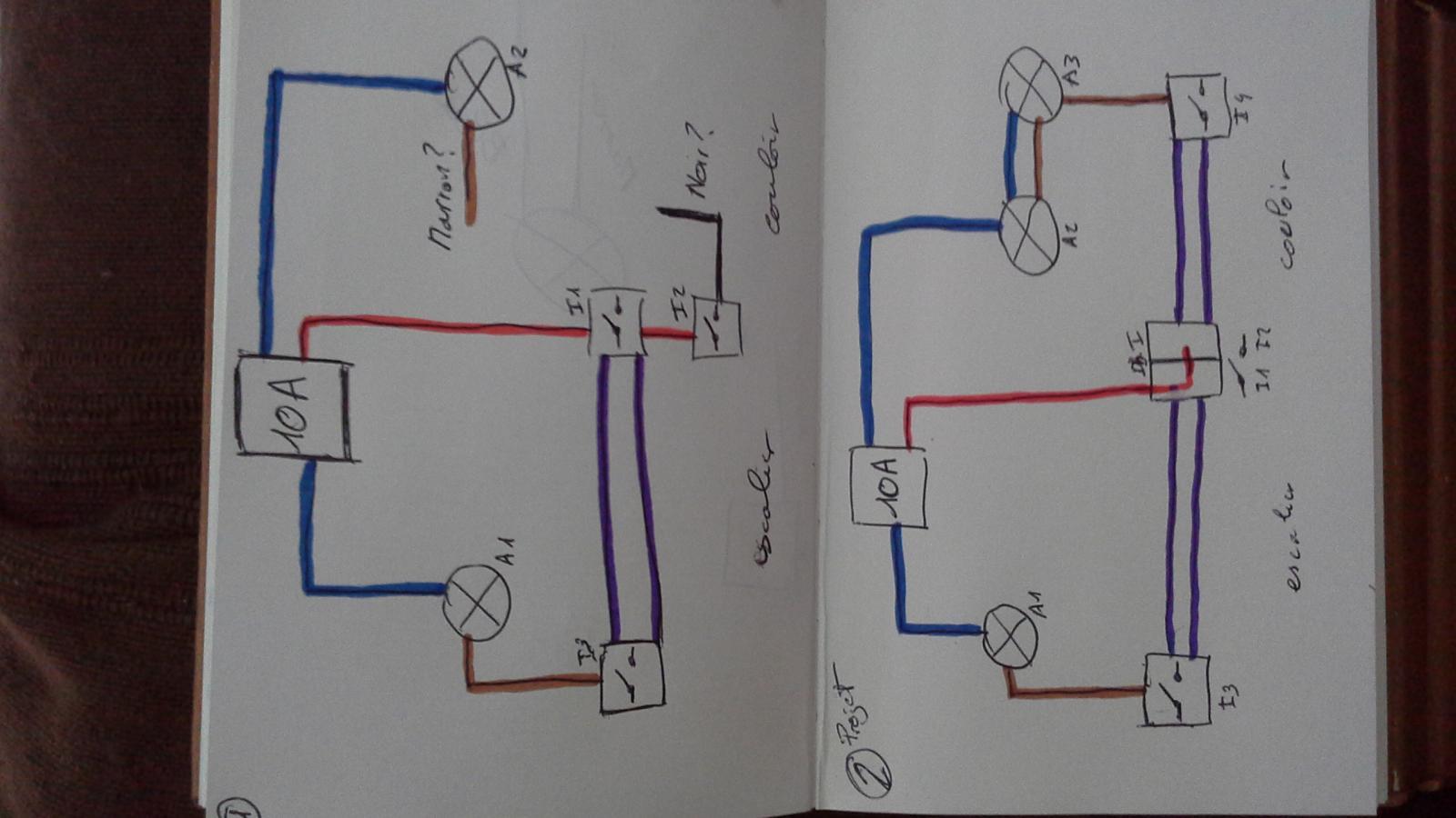 Sch ma electrique ajout va et vient double interrupteur for Va et vient avec 2 fils