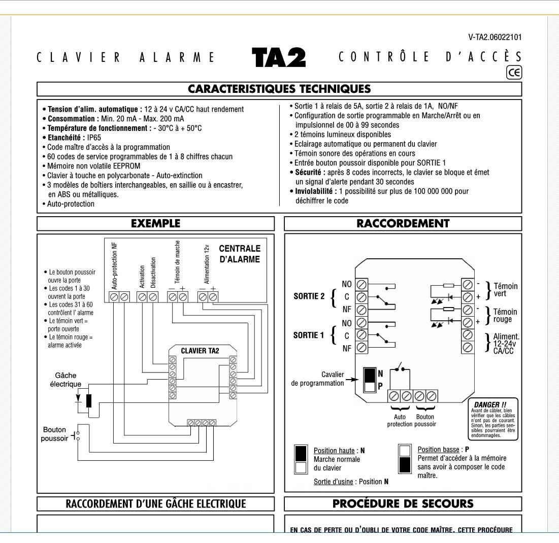 Branchement digicode pour commander porte de garage for Branchement porte garage electrique