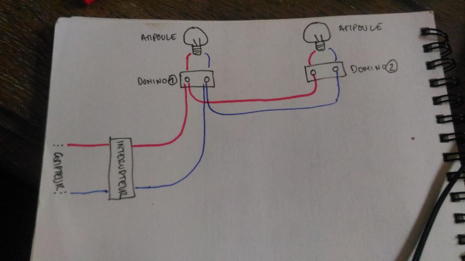 Branchement lectrique interrupteur et deux appliques - Installer plafonnier branchement des fils ...