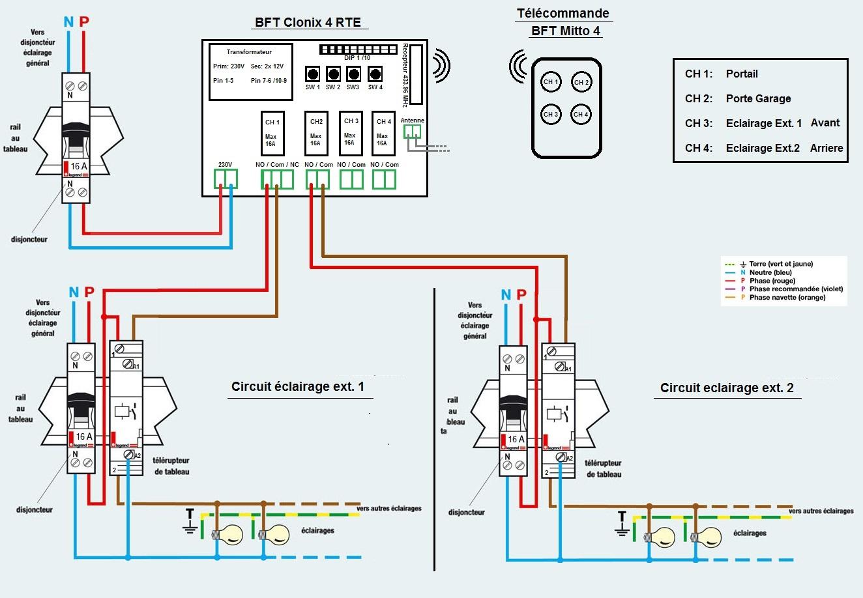 branchement bft clonix 4 rte sur circuit clairage. Black Bedroom Furniture Sets. Home Design Ideas