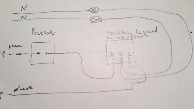 branchement variateur lumi re odace avec un poussoir. Black Bedroom Furniture Sets. Home Design Ideas