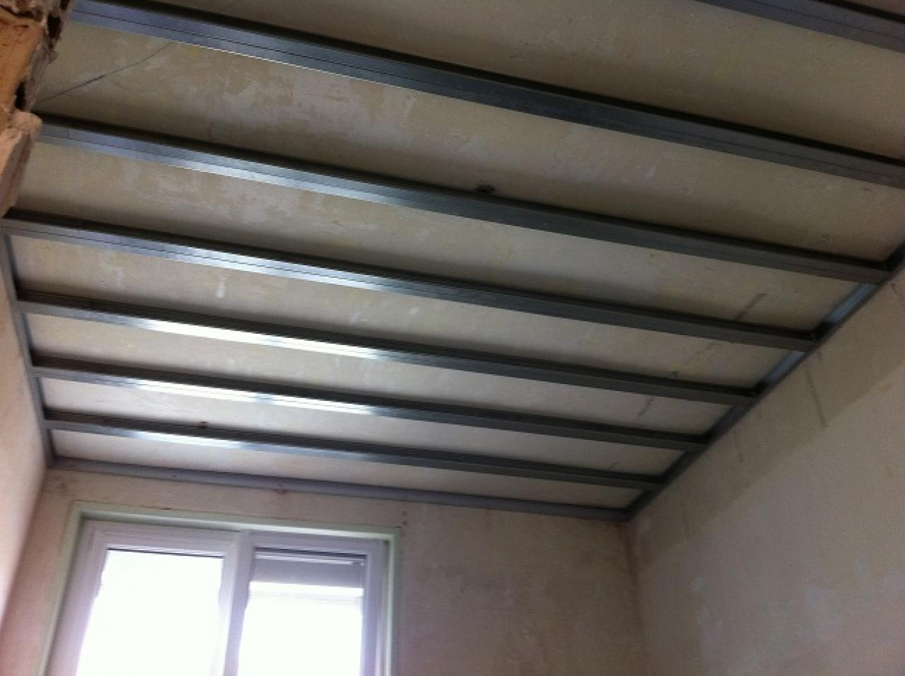 Types de rails et montants pour plafond autoporteur placo for Pose de faux plafond en ba13