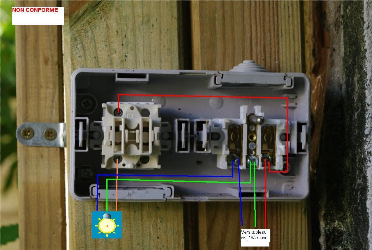 Sch ma lectrique pour branchement interrupteur prise for Installer prise electrique exterieure