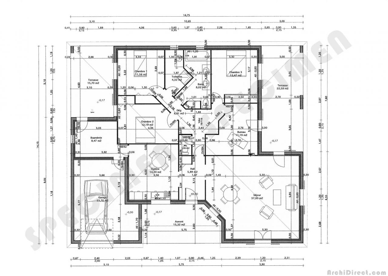 Plan architecture maison en tunisie maison moderne for Plan maison tunisie