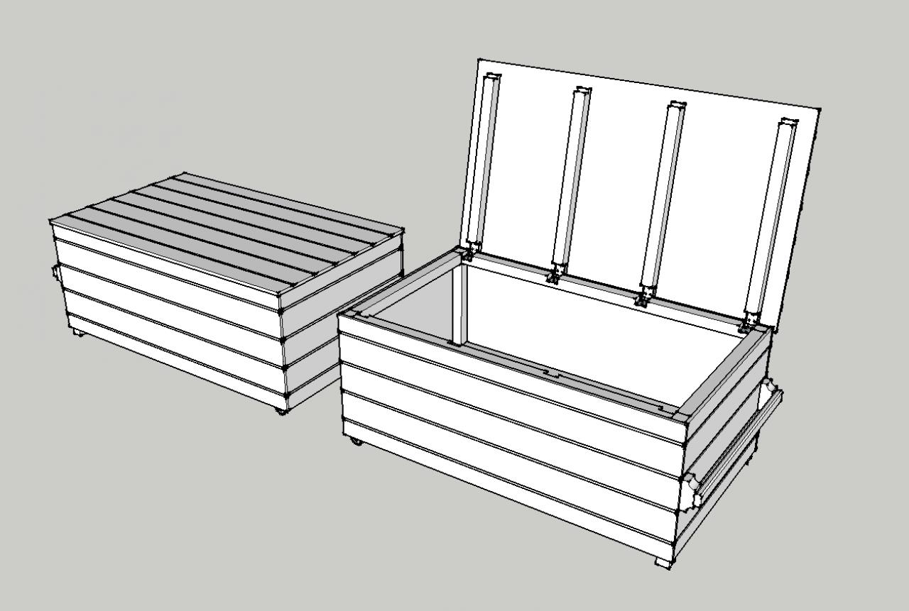 Coffre de jardin - Coffre de rangement exterieur en bois ...