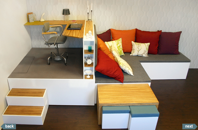 Estrade pour un bureau avec lit escamotable for Home interior designs for small spaces
