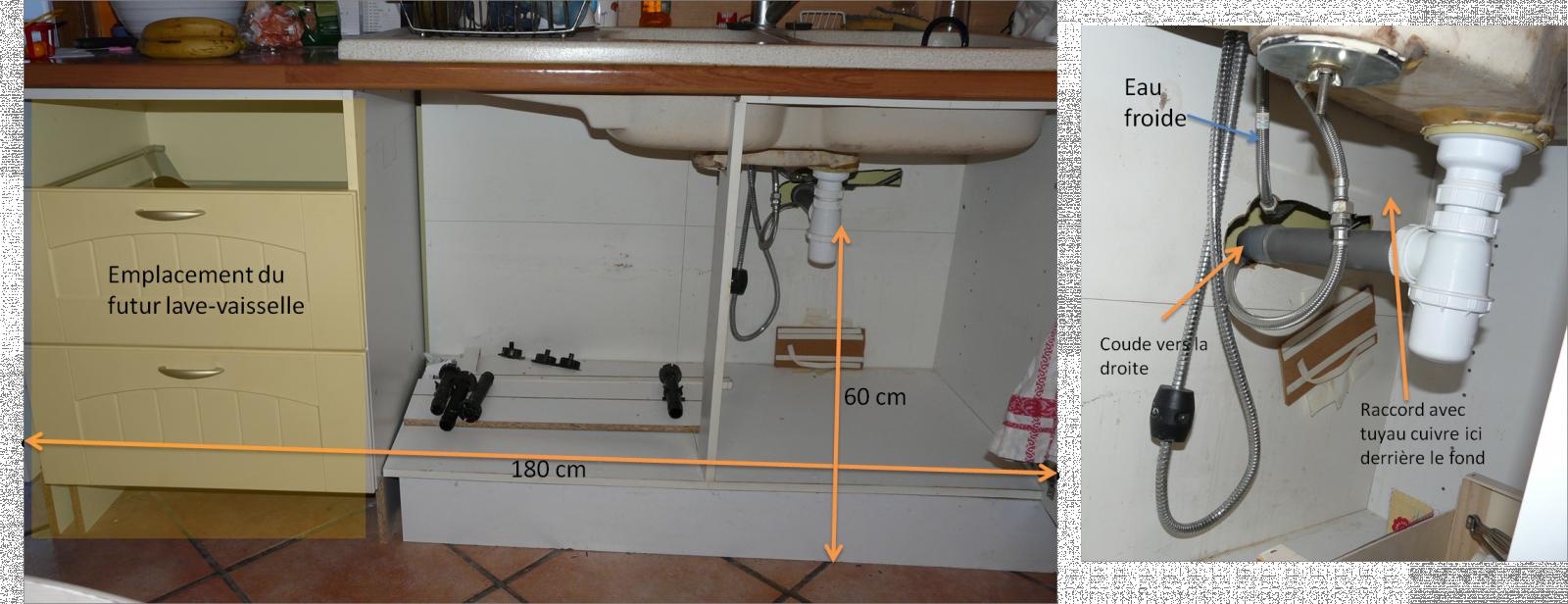 raccordement d 39 un lave vaisselle encastrable dans cuisine. Black Bedroom Furniture Sets. Home Design Ideas