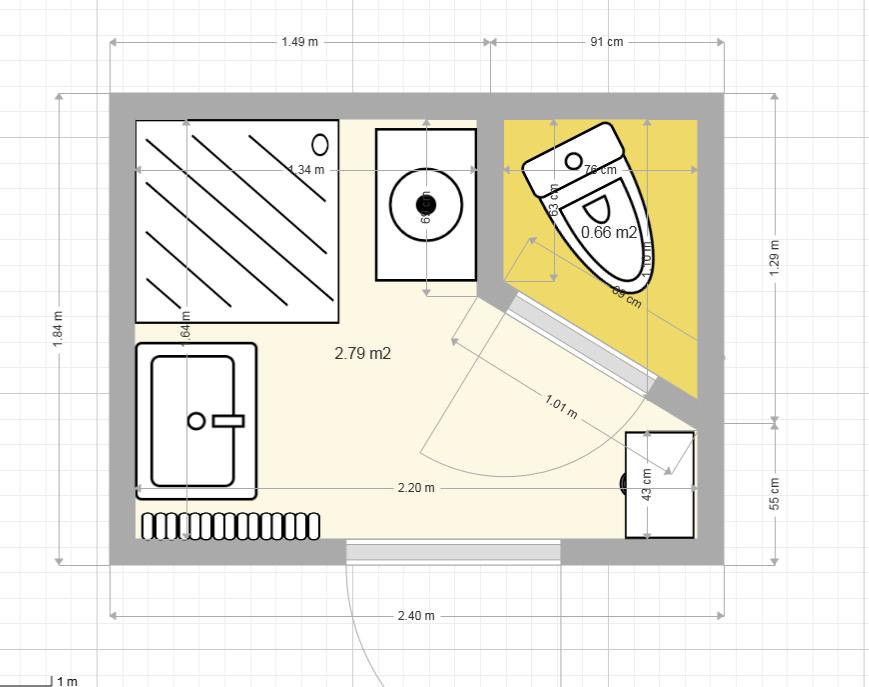 Dimension salle de bain for Salle de bain 4m2 plan