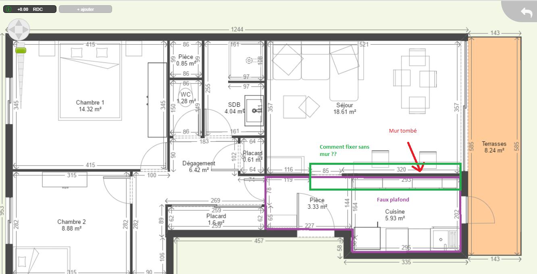 Pose d 39 un faux plafond dans une cuisine ouverte for Pose d un plan de travail cuisine